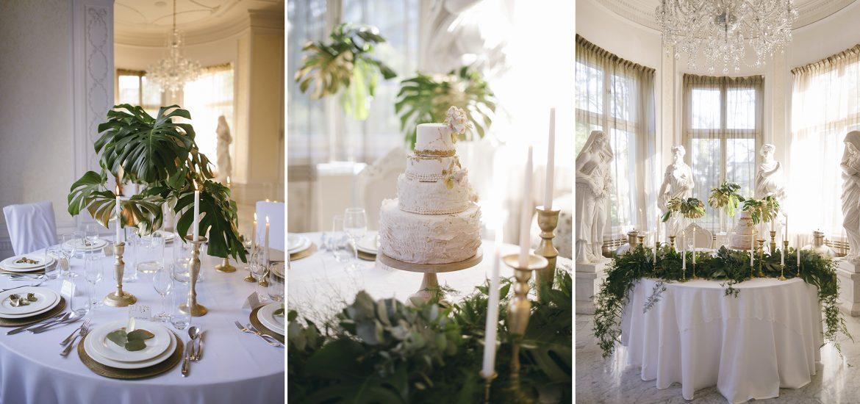 dekoracje ślubne greenery